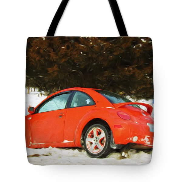 Volkswagen Snow Day Tote Bag by Andee Design