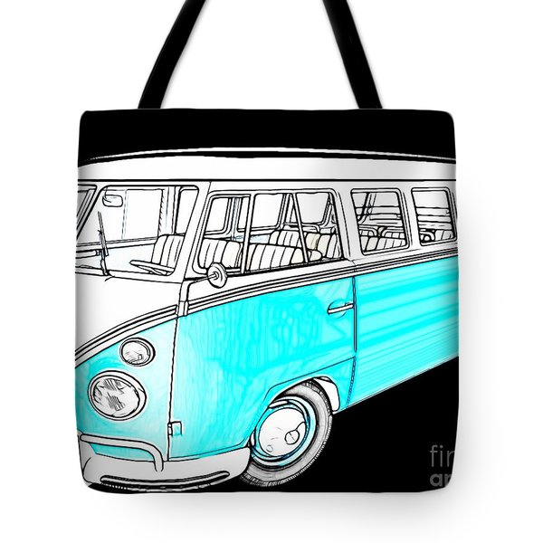 Volkswagen Turquoise Tote Bag by Cheryl Young