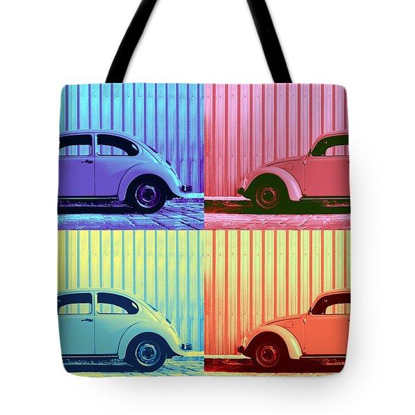 Vw Beetle Pop Art Quad Tote Bag by Laura Fasulo