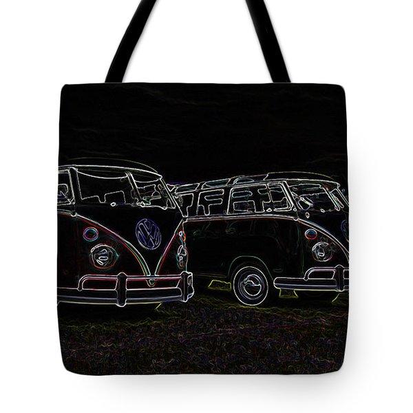 Vw Microbus Glow Tote Bag by Steve McKinzie