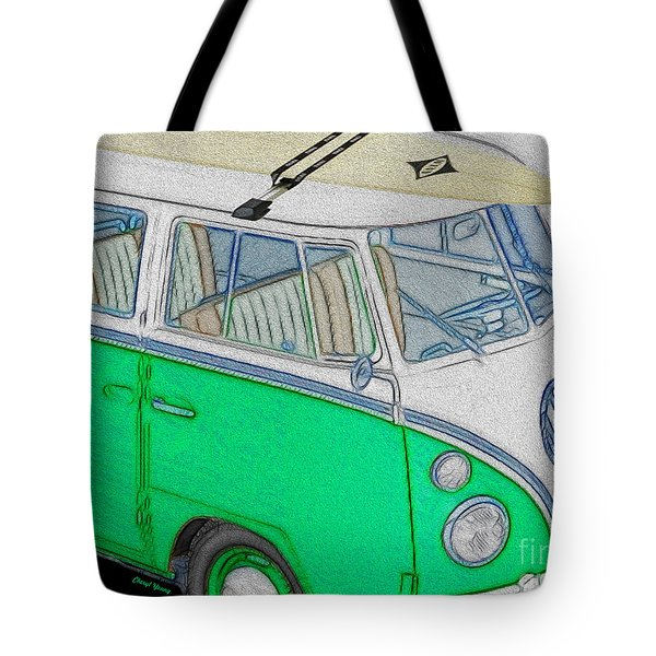 Vw Surf Bus Tote Bag by Cheryl Young