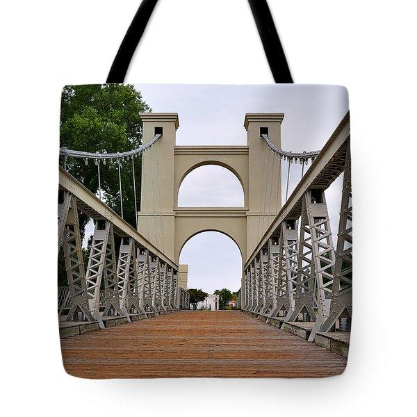 Waco Suspension Bridge Tote Bag by Christine Till