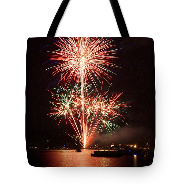 Wading View Of Fireworks Tote Bag by Mark Miller