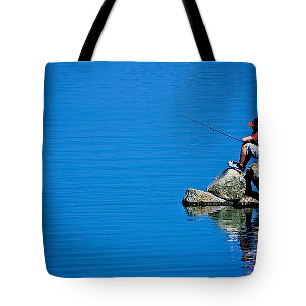 Waiting For A Bite Tote Bag by Mark Miller