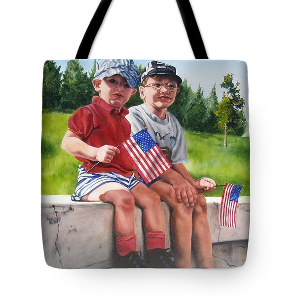 Waiting For The Parade Tote Bag by Lori Brackett