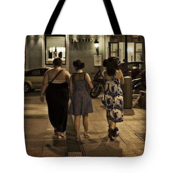 Walking At Night - Madrid Spain Tote Bag by Mary Machare