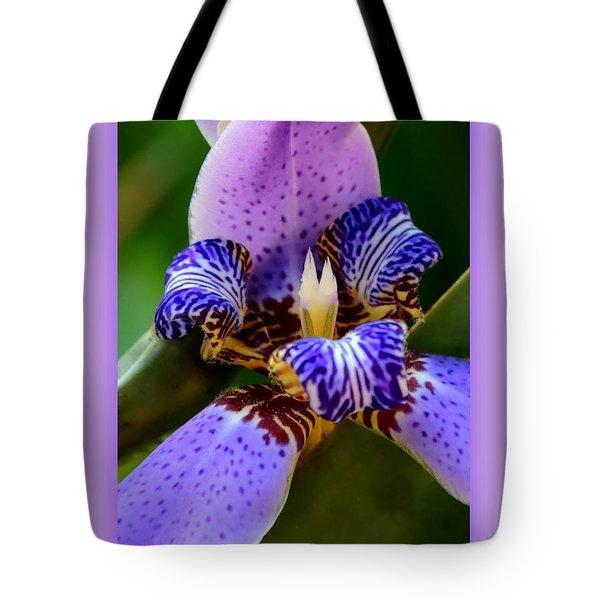 Walking Iris With Purple Border Tote Bag by Carol Groenen