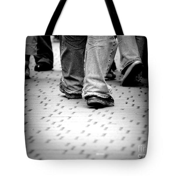 Walking Through The Street Tote Bag by Michal Bednarek