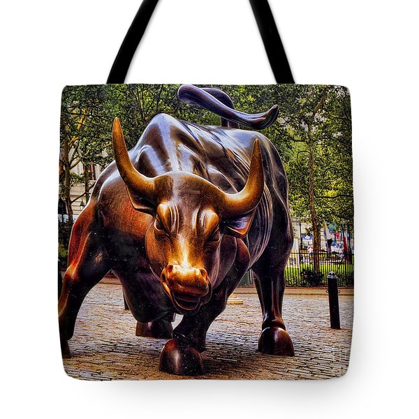 Wall Street Bull Tote Bag by David Smith
