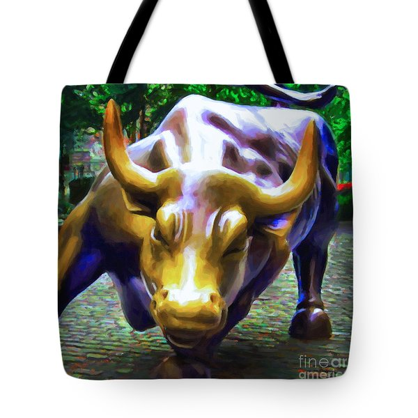 Wall Street Bull v2 - square Tote Bag by Wingsdomain Art and Photography