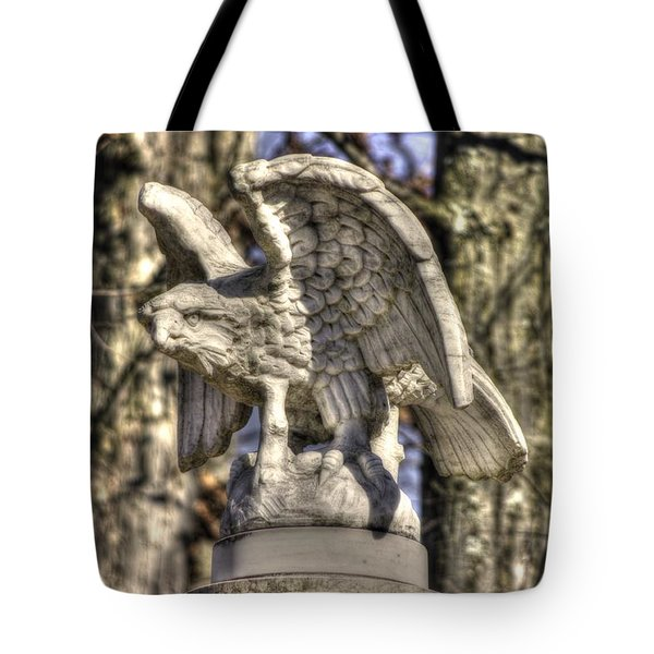 War Eagles - Vermont Company F 1st U. S. Sharpshooters-a1 Pitzer Woods Gettysburg Tote Bag by Michael Mazaika