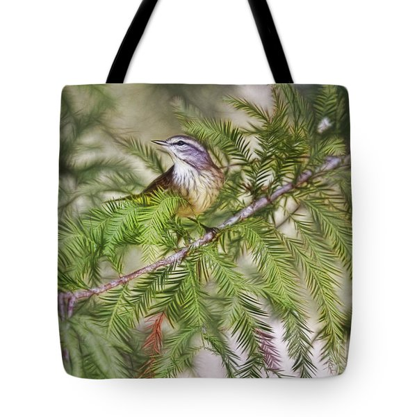 Warbler In The Cypress Tote Bag by Deborah Benoit