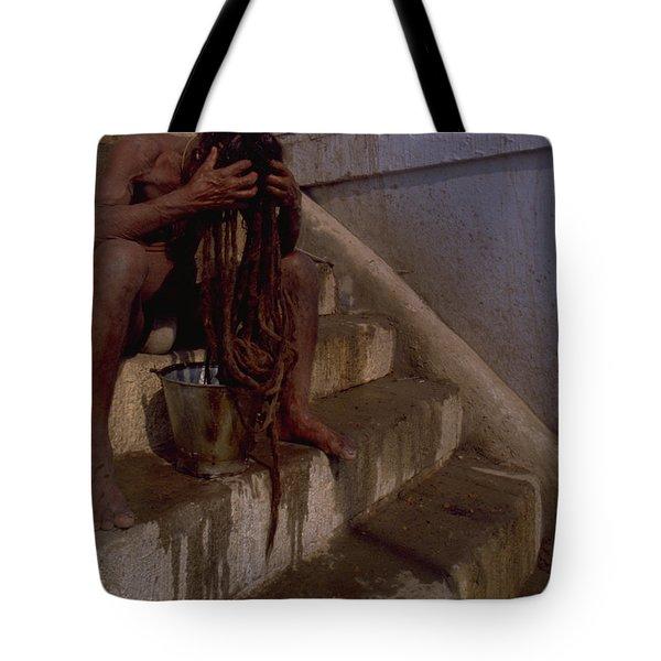 Tote Bag featuring the photograph Varanasi Hair Wash by Travel Pics