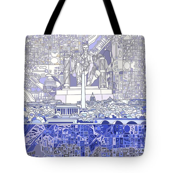 Washington Dc Skyline Abstract 3 Tote Bag by Bekim Art