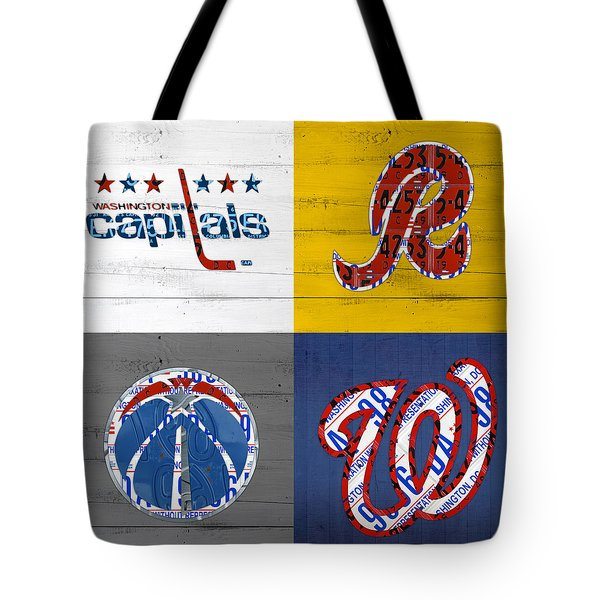 Washington Dc Sports Fan Recycled Vintage License Plate Art Capitals Redskins Wizards Nationals Tote Bag by Design Turnpike