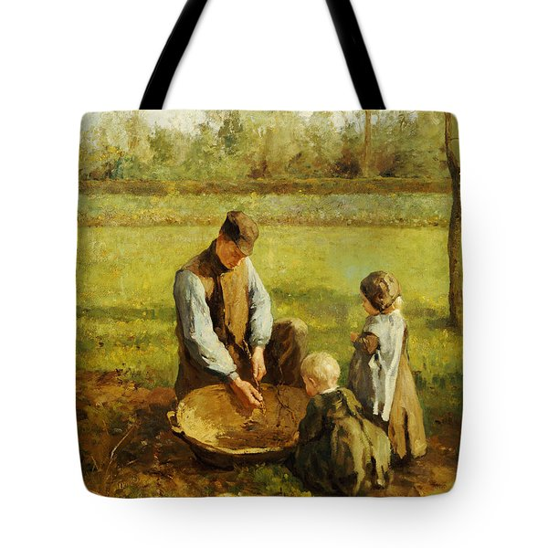 Watching Father Work Tote Bag by Albert Neuhuys