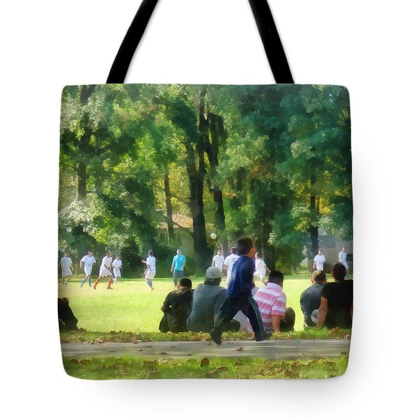 Watching the Soccer Game Tote Bag by Susan Savad
