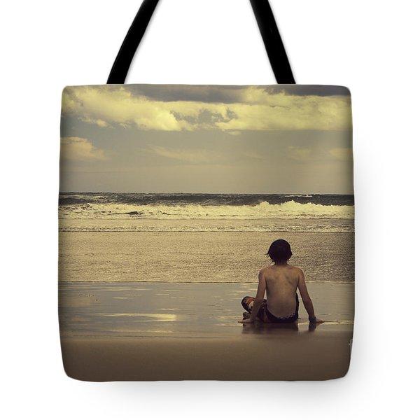 Watching The Waves Tote Bag by Linda Lees