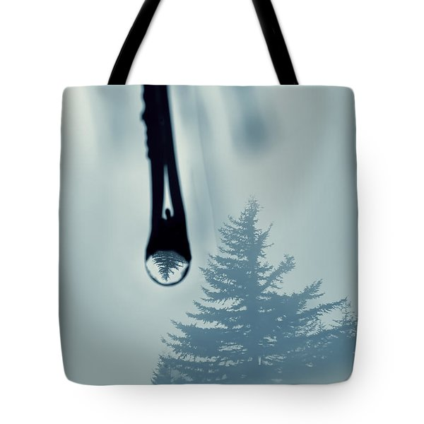 Water Drop With Tree Reflection Tote Bag by Dan Friend