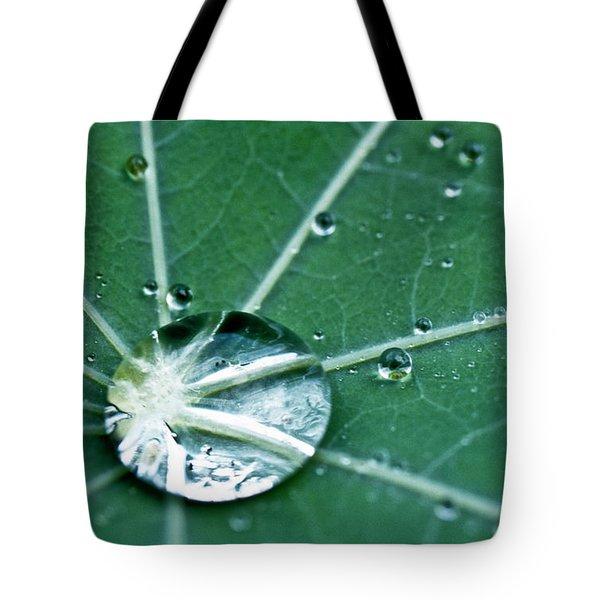Water Droplet On A Lotus Leaf Tote Bag by Heiko Koehrer-Wagner