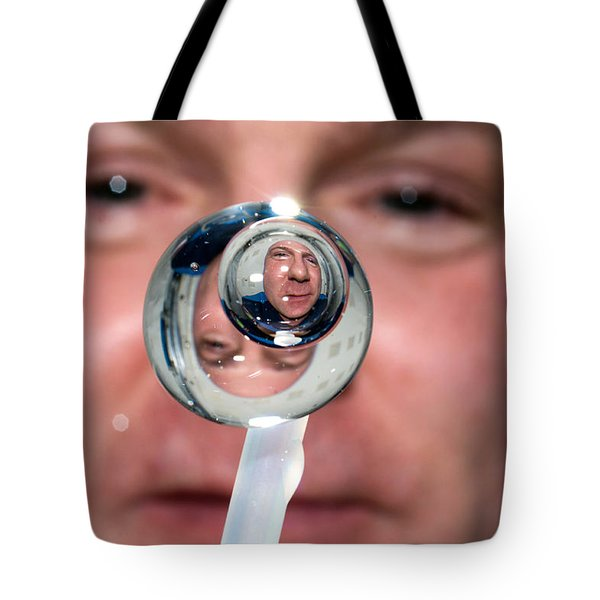 Tote Bag featuring the photograph Water Droplet On The Iss by Science Source