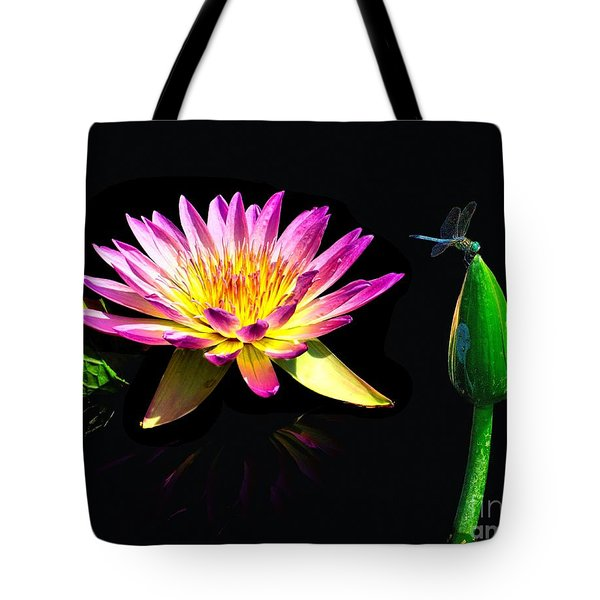Water Lily Dragon Fly Tote Bag by Nick Zelinsky