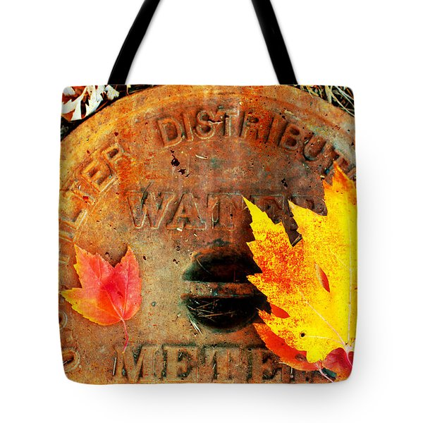 Water Meter Cover With Autumn Leaves Abstract Tote Bag by Andee Design