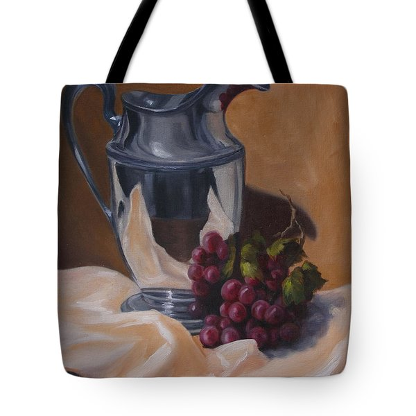 Water Pitcher With Fruit Tote Bag by Lisa Phillips Owens