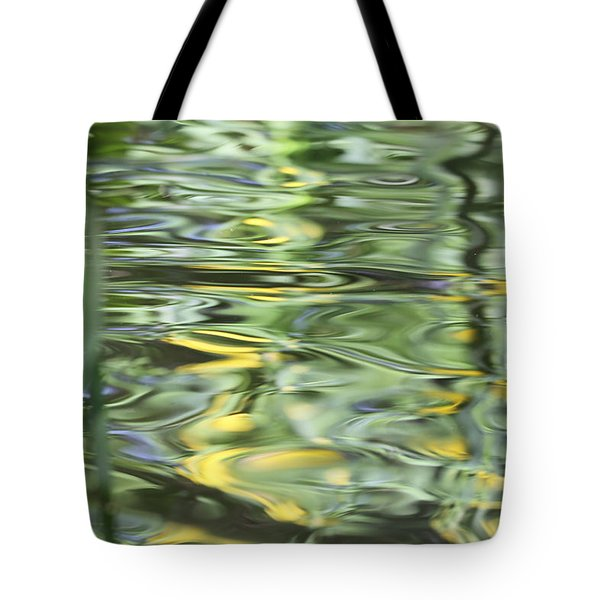 Water Reflection Green And Yellow Tote Bag by Dan Sproul