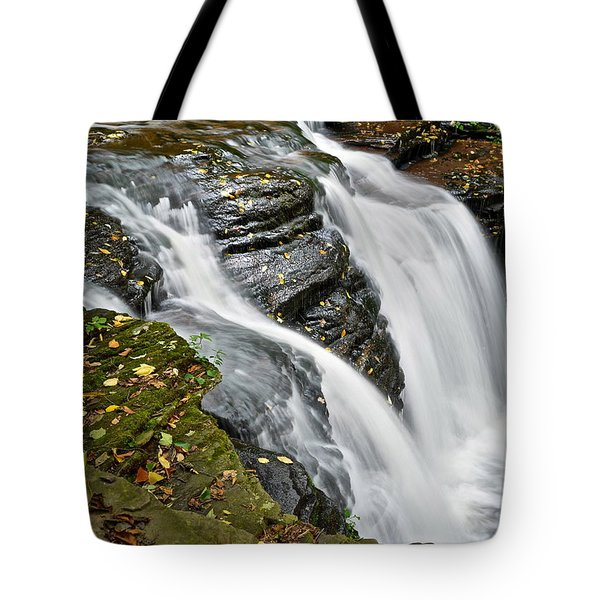 Water Rushes Forth Tote Bag by Frozen in Time Fine Art Photography