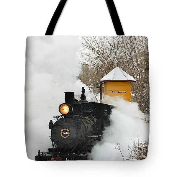 Water Tower Behind The Steam Tote Bag by Ken Smith