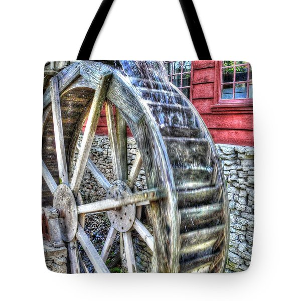 Water Wheel On Mill Tote Bag by John Straton