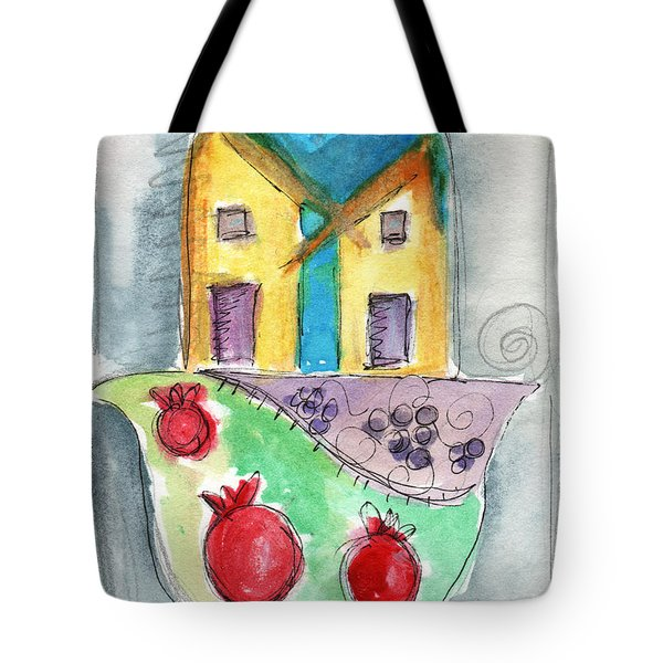Watercolor Hamsa  Tote Bag by Linda Woods