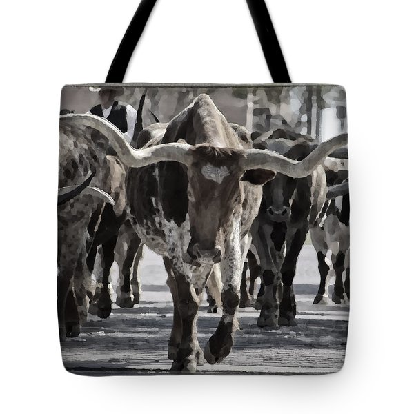 Watercolor Longhorns Tote Bag by Joan Carroll