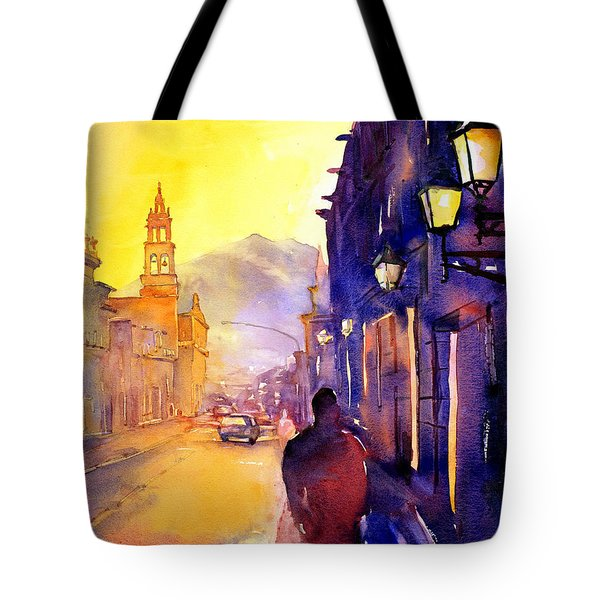 Watercolor Painting Of Street And Church Morelia Mexico Tote Bag by Ryan Fox