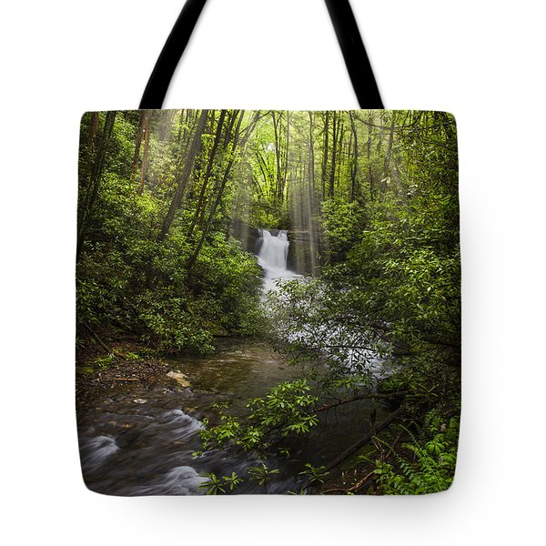 Waterfall In The Forest Tote Bag by Debra and Dave Vanderlaan