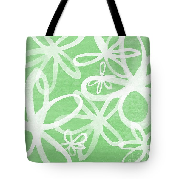 Waterflowers- Green And White Tote Bag by Linda Woods