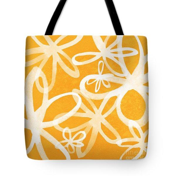 Waterflowers- Orange And White Tote Bag by Linda Woods