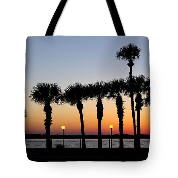 Waterfront After Dark Tote Bag by Debra and Dave Vanderlaan