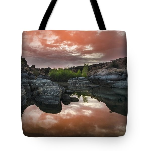 Watson Lake in Pink Tote Bag by Dave Dilli