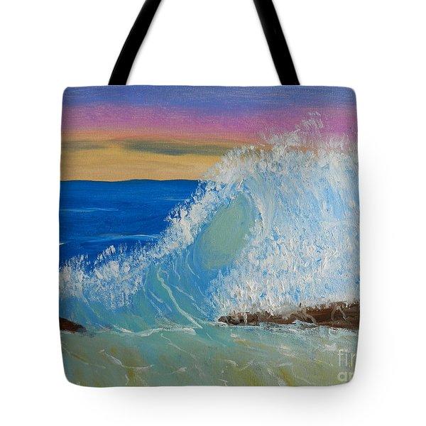 Wave At Sunrise Tote Bag by Pamela  Meredith