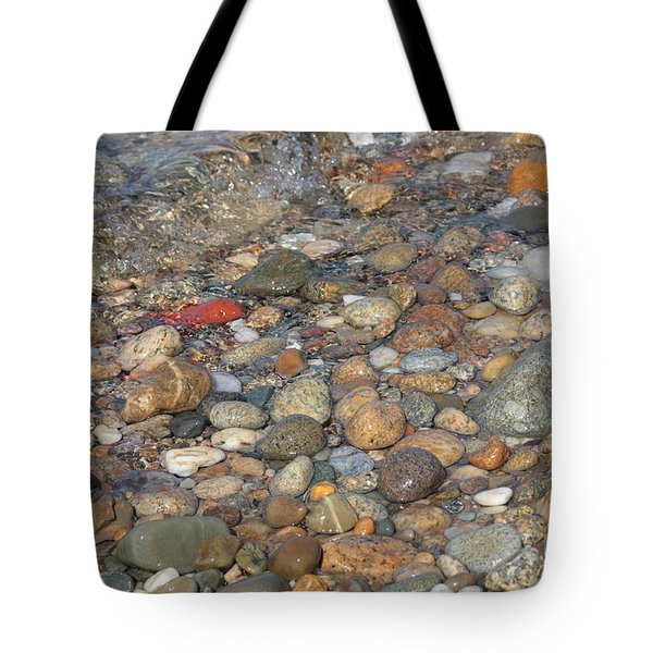 Wave Over Beautiful Rocks Tote Bag by Carol Groenen
