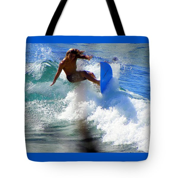 WAVE RIDER Tote Bag by KAREN WILES