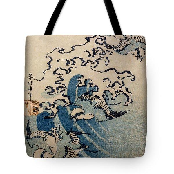 Waves And Birds Tote Bag by Katsushika Hokusai