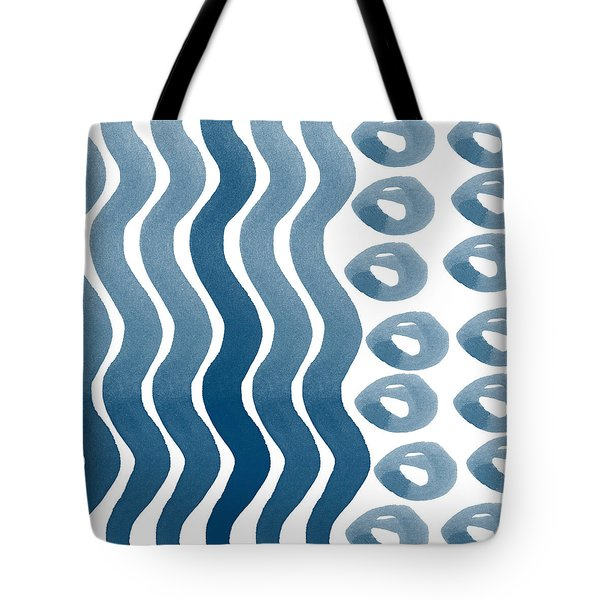 Waves and Pebbles- Abstract watercolor in indigo and white Tote Bag by Linda Woods