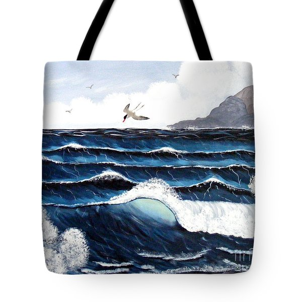 Waves And Tern Tote Bag by Barbara Griffin
