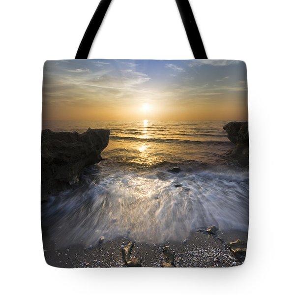 Waves at Sunrise Tote Bag by Debra and Dave Vanderlaan