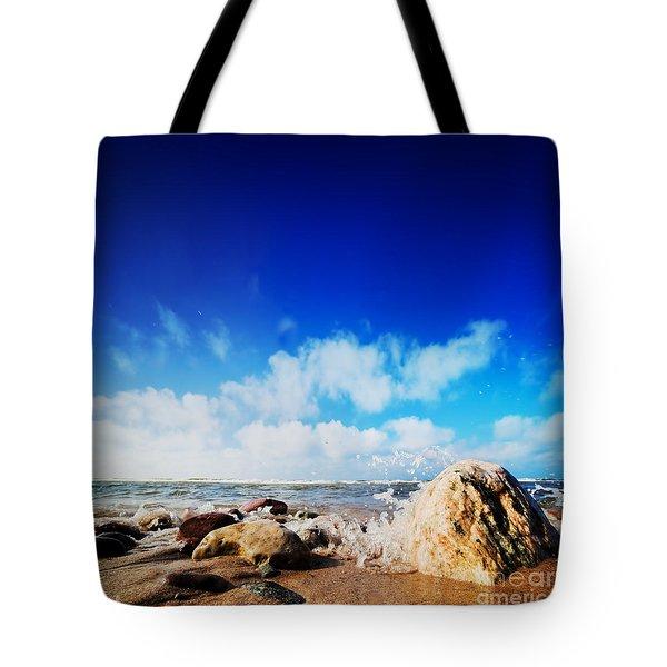 Waves Hiting Rocks On The Sunny Beach Tote Bag by Michal Bednarek