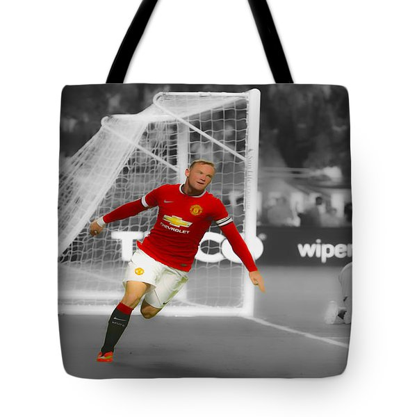 Wayne Rooney Scores Again Tote Bag by Brian Reaves