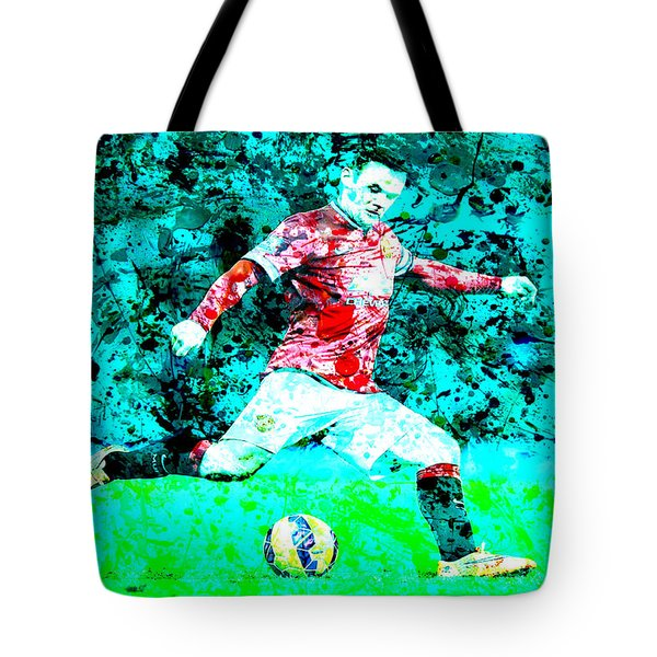 Wayne Rooney Splats Tote Bag by Brian Reaves